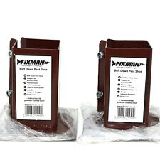 BOLT DOWN FENCE POST SUPPORTS - TWIN PACK 100mm x 100mm  BROWN POWDER COATED