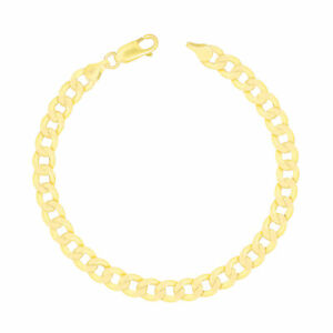 """Real 10K Yellow Gold 7mm Cuban Link Curb Chain Bracelet Lobster Clasp 7"""" 8"""" 9"""""""