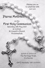 10 Personalised Communion Invitations Black & White Design