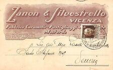 5650) VICENZA, ZANON E SILVESTRELLO FABBRICA CARAMELLE E MOSTARDE. VG NEL 1931.