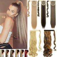 Hair Wavy Wrap Pony Tail Clip In Hairpiece Real as human Ponytail Extension Long