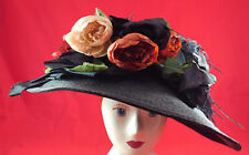Victorian Style Black Straw Feather Roses Wide Brim Gainsborough Picture Hat Vtg
