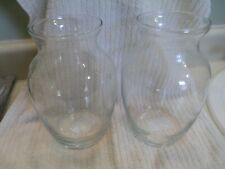 Two Clear Glass Flower Vases