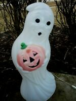 Vintage Halloween Blow Mold Ghost and Pumpkin Plastic Lighted Decor 33""