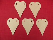 5 WOODEN UNPAINTED HEART SHAPED BUNTING FLAGS