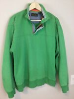 Orvis fly print Mens Pullover Sweater Shirt Large Green Long Sleeve 1/4 Zip