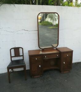 Art Deco Walnut Set of Vanity Writing Desk with Mirror and Chair 8884