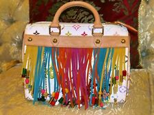 AUTHENTIC LOUIS VUITTON MONOGRAM FRINGE MULTICOLOR WHITE SPEEDY 25 BAG TOTE