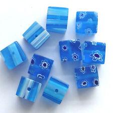 40 Azul Millefiori cristal 10MM cubo cuentas Fabricación de Joyas
