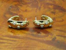 14kt 585 Gelbgold Ohrstecker mit 0,18ct Brillant Besatz / Diamant / Ohrringe