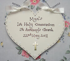 Personalised 1ST HOLY COMMUNION Sign Plaque Gift Present ~ HEART or STAR