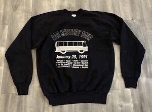 Vintage 90s Mystery Tour Black Raglan Cut Sweatshirt Size Medium