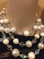 STUNNING VINTAGE VENDOME GOLD TONE 3 STRAND AB  CRYSTAL FAUX PEARL NECKLACE