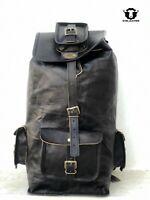 100% Real Black Leather Backpack Bag Men Travel Laptop School Shoulder Rucksack