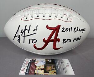 AJ McCarron SIGNED Alabama Crimson Tide Football w/ JSA COA & Proof ~ BCS MVP