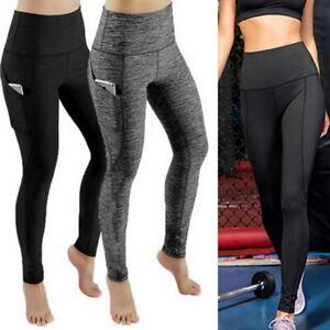Womens High Waist Yoga Pants Pocket Gym Leggings Fitness Sports Running Tight
