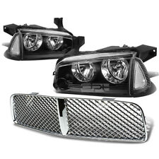 FOR 06-10 DODGE CHARGER BLACK HEADLIGHT+CLEAR CORNER LIGHT+CHROME GRILLE COVER