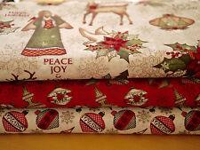 Clothworks Stoffpaket Patchworkstoff  3 x 25x110 cm Weihnachten,Christmas Wishes