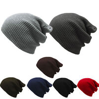 Men's Women's Knit Baggy Beanie Oversize Winter Hat Ski Slouchy Chic Cap Fashion