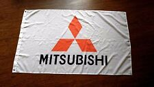 MITSUBISHI WHITE FLAG BANNER 3X5FT LANCER EVOLUTION MIRAGE GALANT VR4 4B11 4G63T