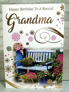 Happy Birthday Card To A Special Grandma, Garden Scene With Gold Highlights