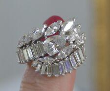 Diamond ring in platinum, 4.50 ct, Diamonds all around band.