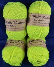 4Pk Fluro Yellow Yarn 8Ply Acrylic Knitting Wool 100g Crochet Ball Needle Craft