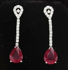 11.72 Carat Natural Red Ruby and Diamond in 14K Solid White Gold Earrings