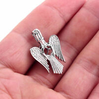 10PCS Locket Pendant Angel Wings Shape Pearl Beads Cage Silver Tone Oil Diffuser