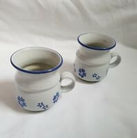 ❀ڿڰۣ❀ MOVILLE Irish STUDIO POTTERY Set of 2 BLUE SHAMROCK Flower MUGS ❀ڿڰۣ❀ New