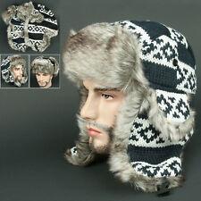 Ear Flap FFR Navy white Chullo Skull Beanie Russian Hat Cap Ear Warmer Outdoor