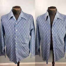 Vintage 1970s 70s M Medium 15 15.5 Blue Printed Poly Cotton Long Sleeve Shirt