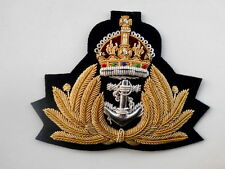 Badge Naval Kings Crown Gold Wire Royal Navy Cap Badge WW2 Style WWII R893
