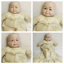 "VTG Antique 3 Sided Face HAPPY, CRYING, SLEEPING Porcelain Baby Doll 22"" RARE"