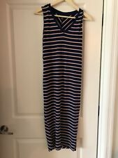 A Pea in the Pod Maternity Women's Navy/Coral Striped Dress Size Small Stretchy