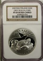 Poland 20 Zlotych 2007 MW NGC PF 69 Ultra Cameo UNC Silver Grey Seals & Cubs