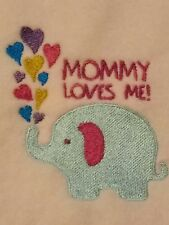 Personalized Embroidery Baby Blanket Elephant and Mommy Loves Me