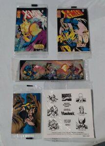 Hardee's 1995 X-Men Kids Meal Toys, Tattoos, Pogs, Comics, Cards Set of 5.