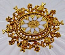 """White Glass Inlaid Oval Gold Tone Floral Dimensional Repousse Brooch Pin 1.75"""""""