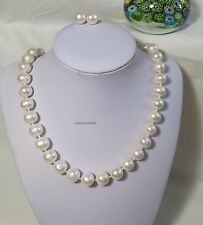 Genuine 11-12mm egg round freshwater pearl necklace+earrings set L48cm