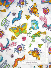 Bugs Butterflies Catterpillar Spider White Cotton Fabric MDG CP37803 By The Yard