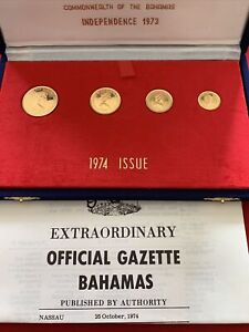 1973 4 PROOF Gold Coins COMMONWEALTH OF THE BAHAMAS OGP COA AND BOX