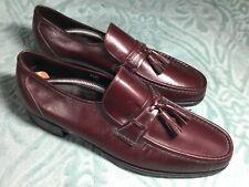 New Florsheim Imperial COMO 8 1/2 D Moc Toe Tassel Loafers Black Cherry Kidskin