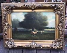19th C ANTIQUE  PAINTING O/C PASTORAL SHEEP LANDSCAPE, SIGNED DURANT