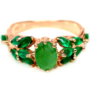 NATURAL AAA GREEN EMERALD OVAL & AVENTURINE STERLING 925 SILVER RING SIZE 6.5