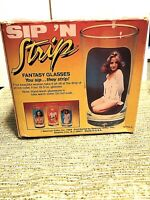 """Spencer Gift  1984 """"Sip 'N Strip"""" glasses { you sip they strip } RARE!!"""