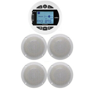 "4""Bluetooth Marine Receiver Stereo Radio+4 X 4""Golf cart Speakers(White)"