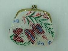 Vintage Coin Purse Colored Plastic Beads Wallet  #2203