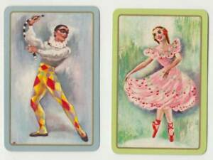 Q283 Vintage Swap Cards  lady Flamingo dancer and partner