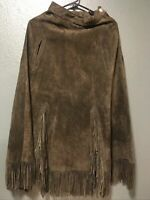Womens S.H.E. APPAREL Brown Western Suede Skirt Fringe Made In Texas